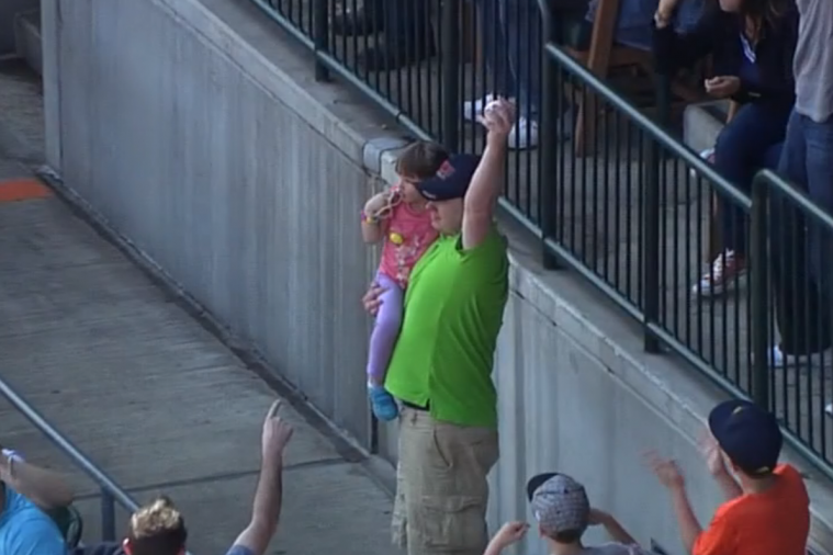 Dad Catches Foul Ball While Holding Daughter at Detroit Tigers Game