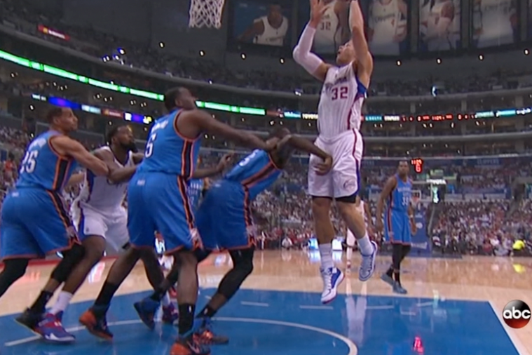 Blake Griffin and Serge Ibaka Inadvertently Trade Shots Below the Belt