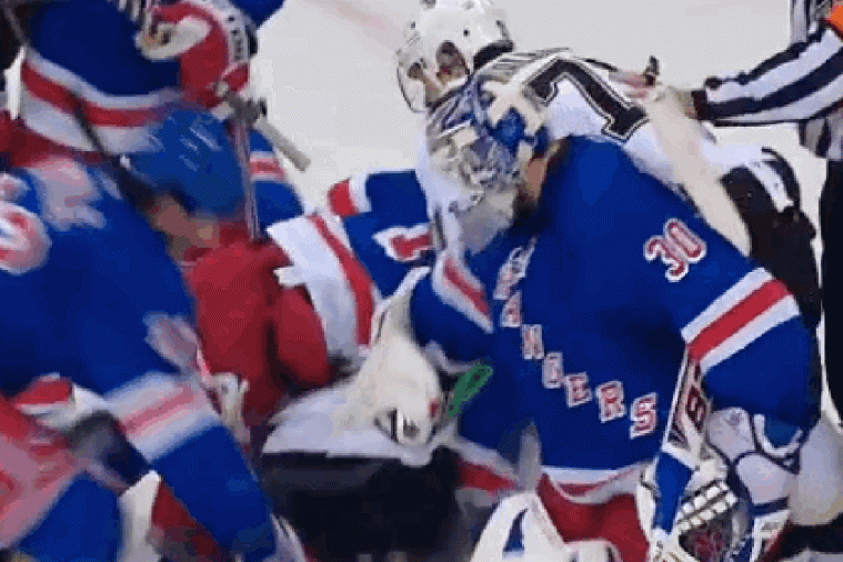 Henrik Lundqvist Squirts Water on Sidney Crosby's Face During Scrum