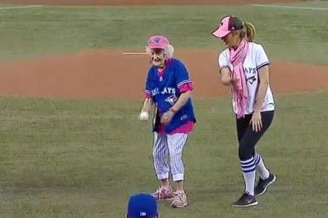 101-Year-Old Grandma Becomes Oldest Canadian to Throw out First Pitch in Toronto