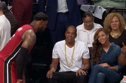 LeBron James Dunks After Chatting with Jay Z, Beyonce