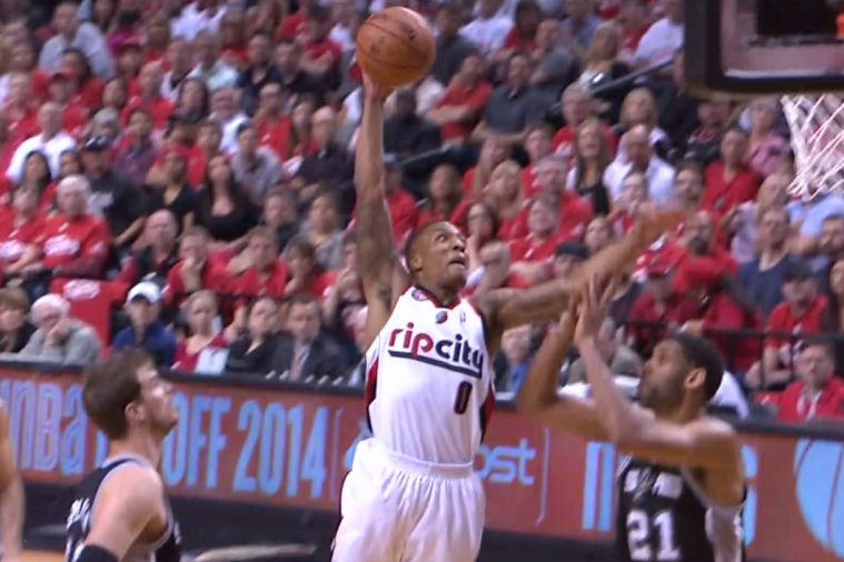 Portland's Damian Lillard Rises Up for a Huge 1-Handed Dunk vs. San Antonio