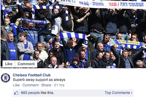 Chelsea Can't Recognise Their Own Fans in Awkward Facebook Post