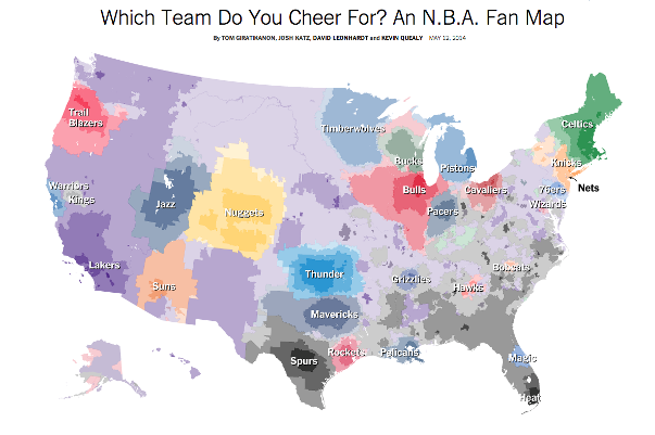 Map Shows Breakdown of Each NBA Team's Fanbase Based on Facebook Data