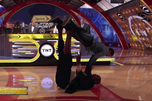 Shaq Invents Shaqcrobatics, Holds Grown Man Aloft During 'Inside the NBA'