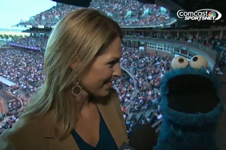 Cookie Monster Talks Baseball at Braves-Giants Game