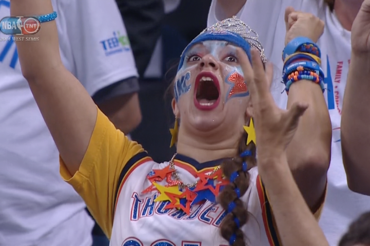 Thunder Fan Goes Nuts After Russell Westbrook Hits Clutch Free Throw