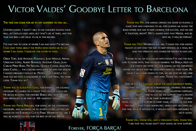 Victor Valdes Pens Emotional Goodbye Letter to Barcelona