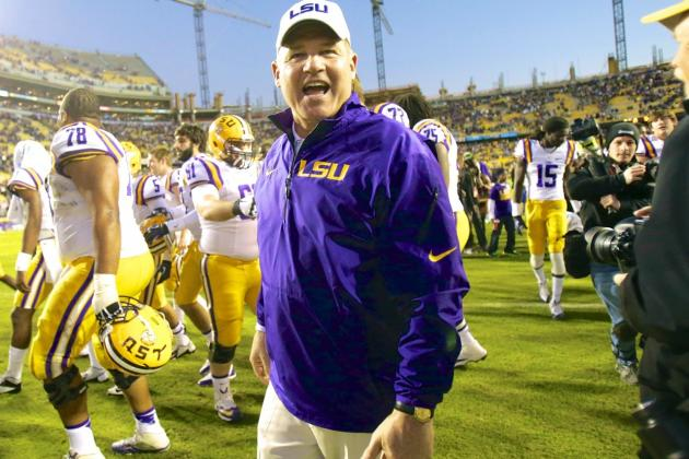 LSU Head Coach Les Miles Jabs at Texas for Lack of Draft Picks