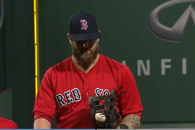 Mike Napoli Turns Double Play While Ball Is Stuck in Glove
