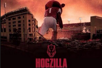 "Photo: Arkansas Football Promotes ""Hogzilla, Coming This Fall in 3D"""