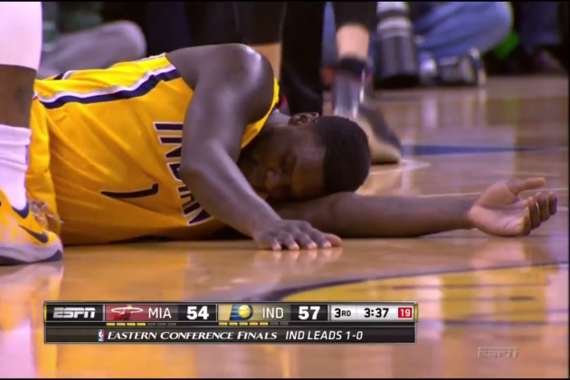 Pacers' Lance Stephenson Flops Against LeBron James, Falls Asleep on Court