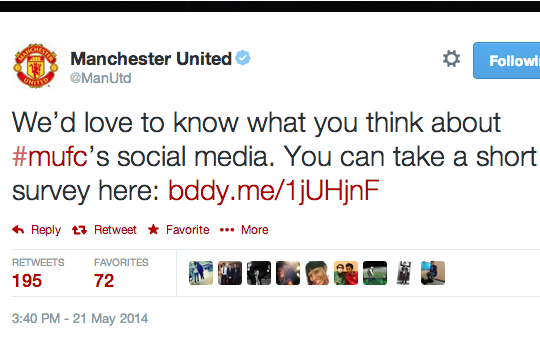 Manchester United Request Feedback on Social Media, Receive It