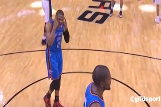 Russell Westbrook Yells at Kevin Durant as Thunder Head into Timeout Huddle