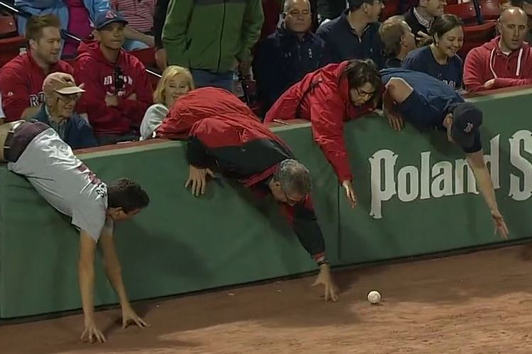 Red Sox Fans Desperately Struggle to Haul in Foul Ball