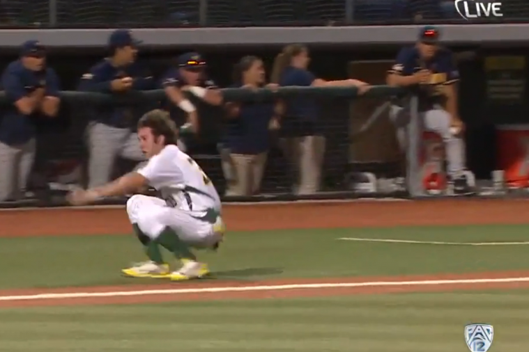 Oregon Baseball Player Tumbles Home, Still Scores Run