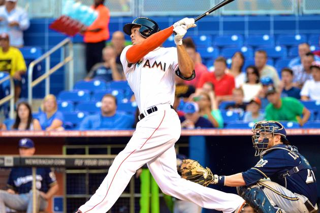Marlins' Giancarlo Stanton Blasts 2 Solo Home Runs vs. Brewers