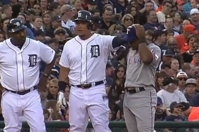 Tigers' Miguel Cabrera Messes with Adrian Beltre's Head at 3rd Base