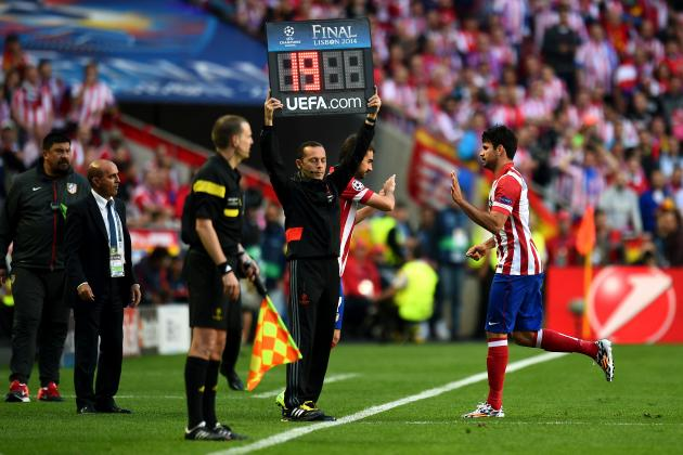 Twitter Reacts as Diego Costa Exits Champions League Final After 9 Minutes