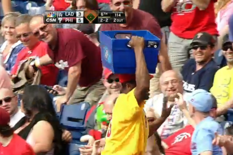 Phillies Beer Vendor Catches Foul Ball Using Bucket on Top of Head