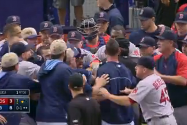 Yunel Escobar, Jonny Gomes Ejected After Benches Clear During Red Sox vs. Rays