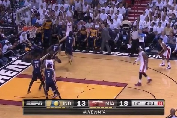Frank Vogel Seemingly Attempts to Distract Shane Battier on 3-Point Attempt