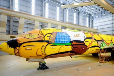 Brazil Football Team's Plane for 2014 World Cup Gets Awesome Graffiti Makeover