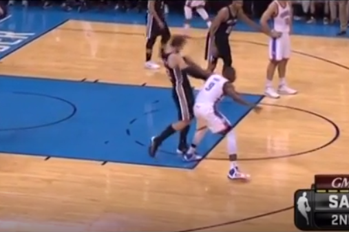 Spurs' Tiago Splitter Flops off a Single Touch from Serge Ibaka