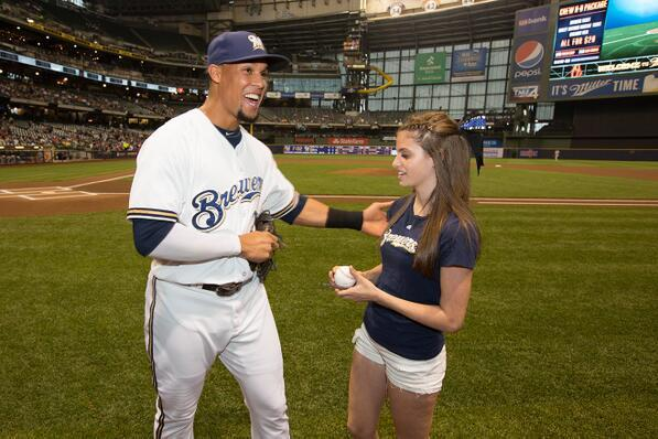 Crying Carlos Gomez Fan Returns to Miller Park to Throw out 1st Pitch