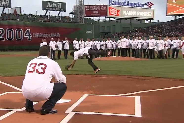 Johnny Damon Intercepts Manny Ramirez's First Pitch as Retribution