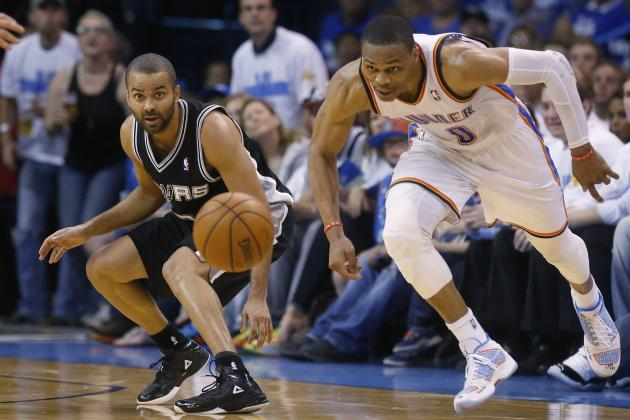Thunder's Russell Westbrook Joins MJ as Only Players with 40-10-5-5 in Playoffs