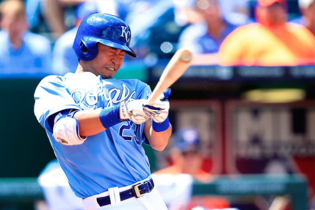 Royals' Norichika Aoki Can't Keep His Balance on Awkward Swing