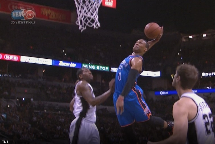 Russell Westbrook Attacks the Rim and Finishes with a Vicious Dunk