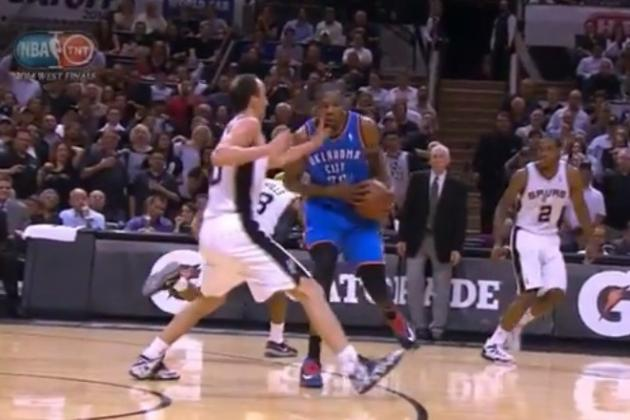 Manu Ginobili Accidentally Slaps Kevin Durant in the Face