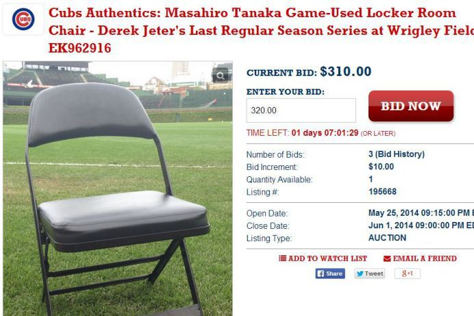 Chicago Cubs Auctioning off Chair Masahiro Tanaka Sat in