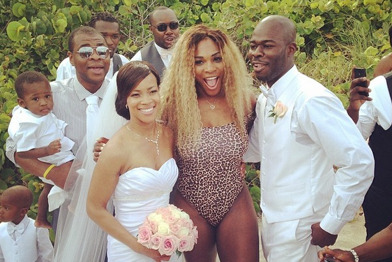 Serena Williams and Caroline Wozniacki Hang on the Beach, Crash a Wedding