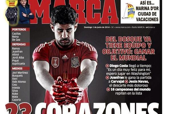 Marca's Spain World Cup Front Features Diego Costa Holding a Heart and Blood