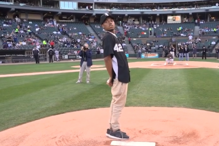 Chance the Rapper Throws out First Pitch at Chicago White Sox Game
