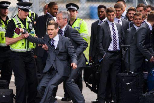 'Lee Nelson' Attempts to Board England's World Cup Plane