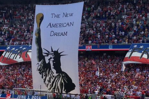 USMNT Fans Unveil Tifo of Statue of Liberty Holding Up a Leg of Turkey