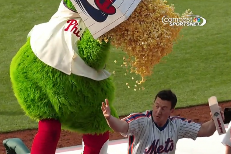 Phillie Phanatic Dumps Humongous Box of Popcorn on Mets Fan