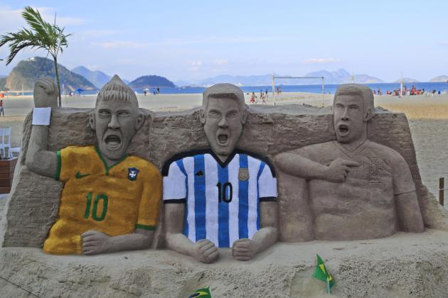 Neymar, Lionel Messi and Cristiano Ronaldo Sand Sculptures Built on Rio Beach