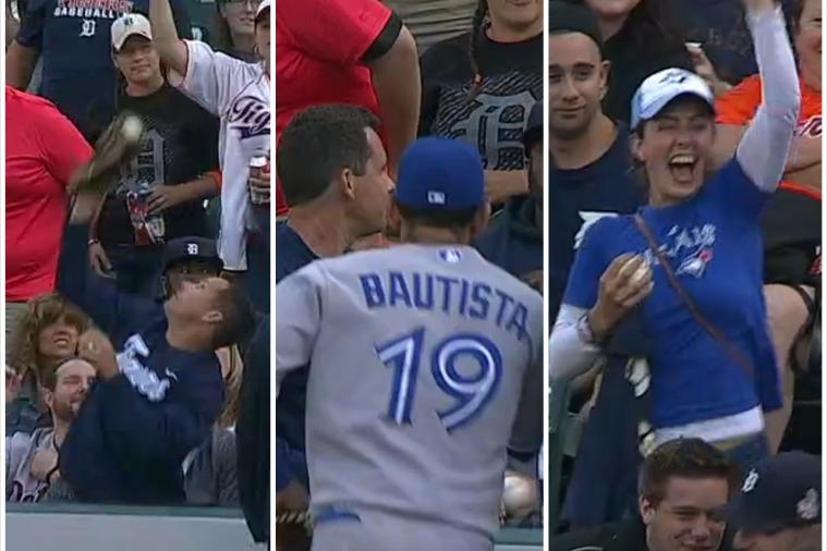 Blue Jays' Jose Bautista Makes Sure Souvenir Ball Goes to the Correct Fan