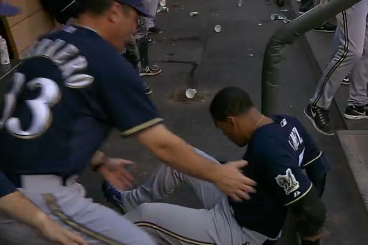 Carlos Gomez Slips Down Dugout Stairs After a Groundout