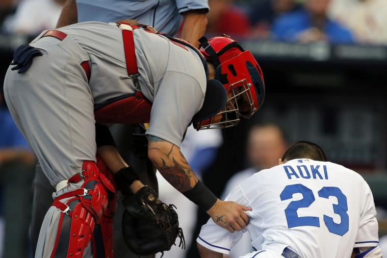 Yadier Molina Accidentally Hits Norichika Aoki in Head on Throw Back to Pitcher