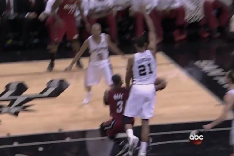 Dwyane Wade Dekes Tim Duncan with Vintage Dream Shake
