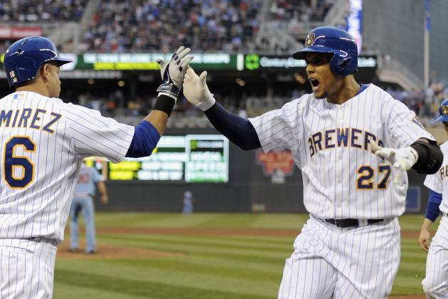 Gomez, Brewers Get Split with Twins, Win 8-5