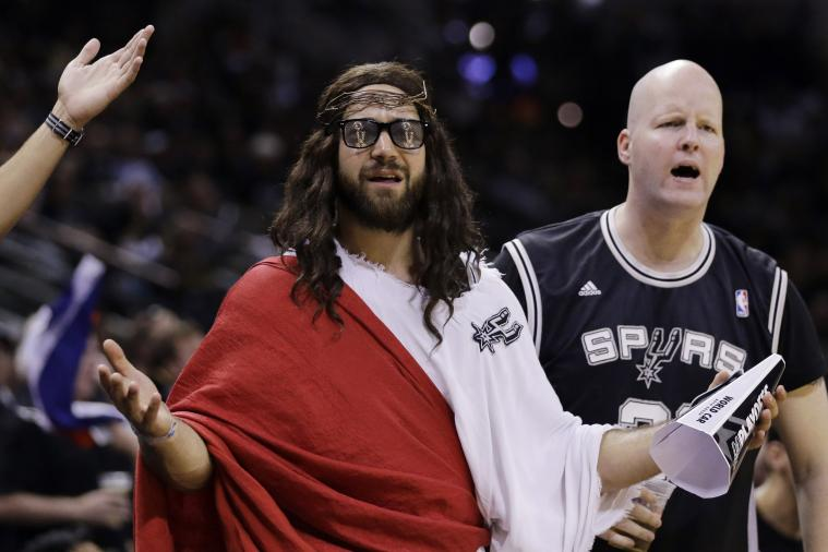 Man Dressed as Jesus Sits Courtside for Heat-Spurs Game 1