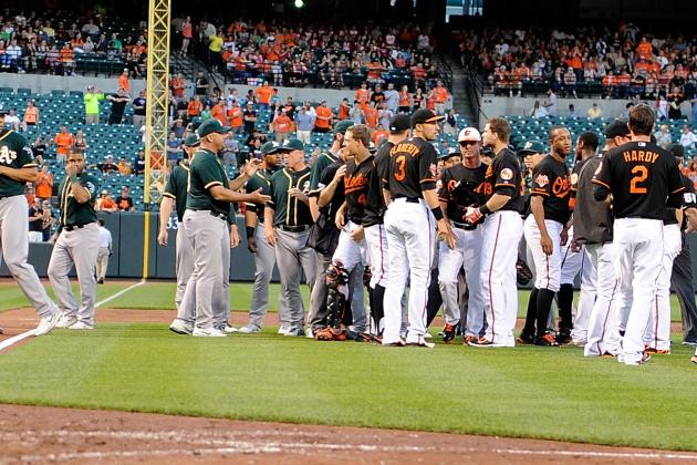 The Benches Cleared Between the Orioles and A's After a Tag Play
