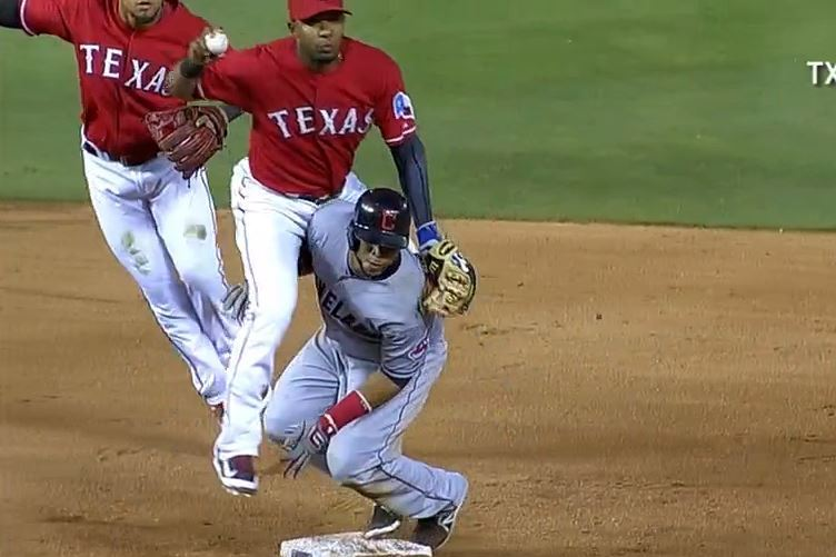 Elvis Andrus Manages to Stay on His Feet Long Enough to Turn Wild Double Play